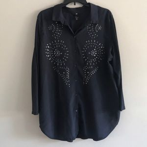 Like New H & M Blouse Button Down Size Large Navy